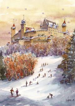 Wand-Adventskalender Coburg - Winterfreuden im Veilchental mit Glitzer mit Glitzer