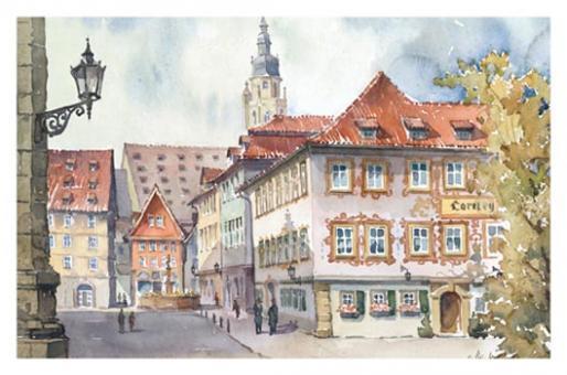 Kunstkarte Coburg - Loreley mit Malerwinkel