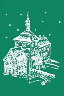 Kunstkarte Bamberg - Weihnachtliche Stimmung am alten Rathaus ohne Glitzer