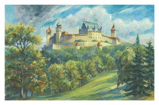 Kunstkarte Coburg - Veste Coburg mit Veilchental