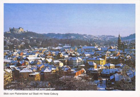 Blick vom Plattenäcker auf Stadt mit Veste Coburg