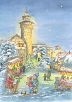 Wand-Adventskalender Nürnberg - Weihnachtsvorfreude an der Kaiserburg ohne Glitzer