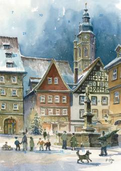 Wand-Adventskalender Coburg - Weihnachtsstimmung am Rückertbrunnen mit Glitzer
