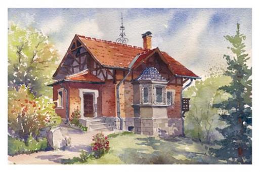 Kunstkarte Coburg - Gartenhaus in der Weinstraße