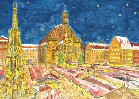 Wand-Adventskalender Nürnberg - Christkindlesmarkt mit Frauenkirche ohne Glitzer