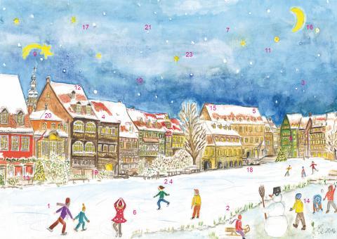 Wand-Adventskalender Bamberg - Winterfreuden in Klein-Venedig mit Glitzer mit Glitzer