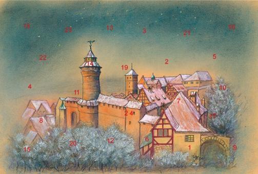 Adventskalender Nürnberg - Die Kaiserburg im Abendlicht mit Glitzer mit Glitzer
