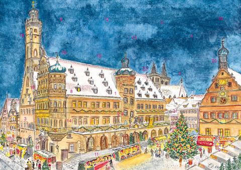 Wand-Adventskalender Rothenburg ob der Tauber - Weihnachtliche Stimmung am Reiterlesmarkt ohne Glitzer