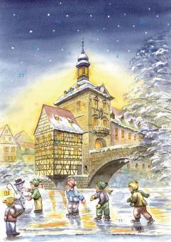 Wand-Adventskalender Bamberg - Altes Rathaus, Winterfreuden auf der Regnitz mit Glitzer mit Glitzer