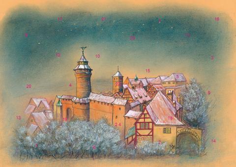 Wand-Adventskalender Nürnberg - Die Kaiserburg im Abendlicht ohne Glitzer ohne Glitzer