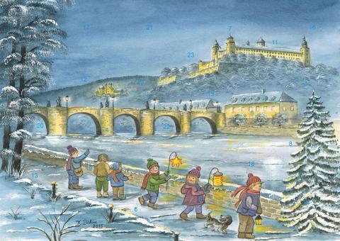 Wand-Adventskalender Würzburg - Winterspaziergang am Main