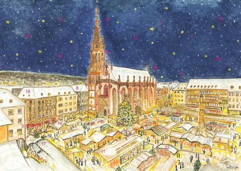Wand-Adventskalender Würzburg - Frohes Treiben auf dem Weihnachtsmarkt