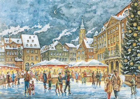 Wand-Adventskalender Coburg - Christkindlesmarkt mit Glitzer