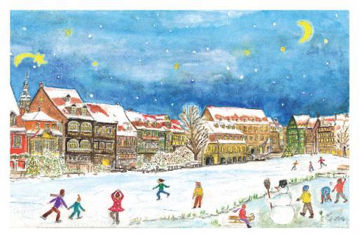 Kunstkarte Bamberg - Winterfreuden in Klein-Venedig