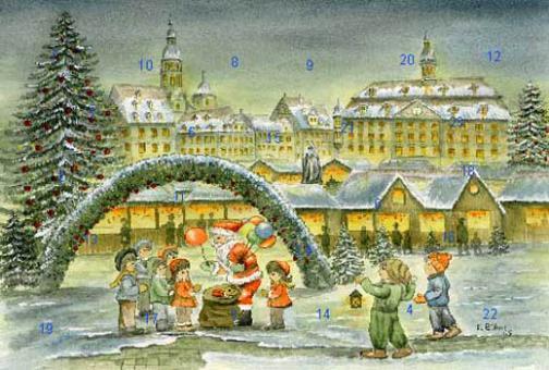 Adventskalender Coburger Weihnachtsmarkt - Sankt Nikolaus beschert die Kinder ohne Glitzer