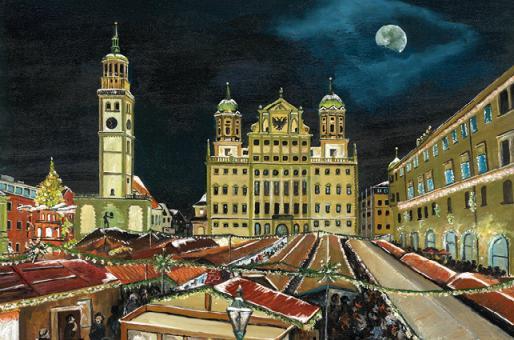 Kunstkarte Augsburg - Weihnachtsmarkt auf dem Rathausplatz mit Glitzer