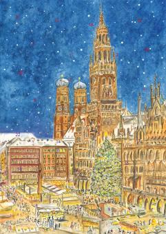 Wand-Adventskalender München - Christkindlmarkt am Marienplatz ohne Glitzer