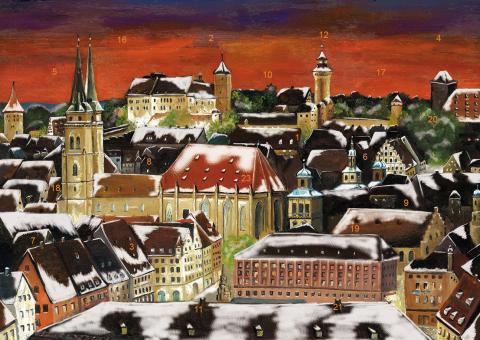 Wand-Adventskalender Nürnberg - Weihnachtsstimmung über der Altstadt ohne Glitzer ohne Glitzer