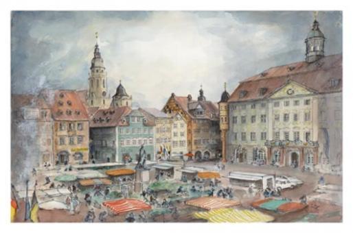 Kunstkarte Coburg - Wochenmarkt