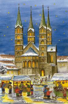 Kunstkarte Bamberg - Weihnachtsstimmung vor dem Dom