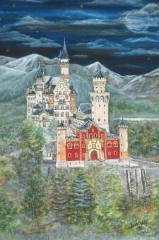 Kunstkarte - Schloss Neuschwanstein mit Glitzer mit Glitzer