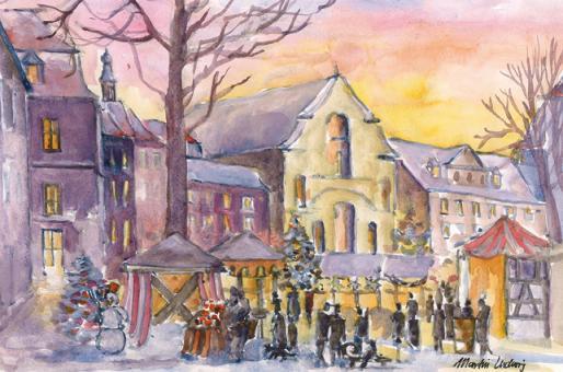 Kunstkarte Bamberg - Grüner Markt mit Glitzer