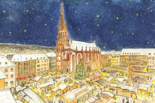 Kunstkarte Würzburg - Frohes Treiben auf dem Weihnachtsmarkt mit Glitzer mit Glitzer