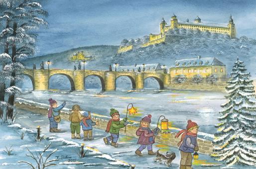 Kunstkarte Würzburg - Winterspaziergang am Main mit Glitzer mit Glitzer