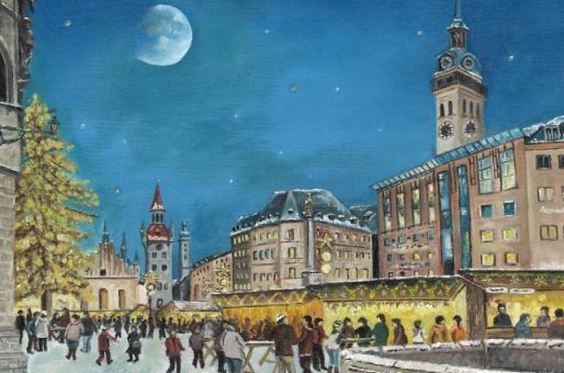 Kunstkarte München - Christkindlmarkt am alten Rathaus ohne Glitzer