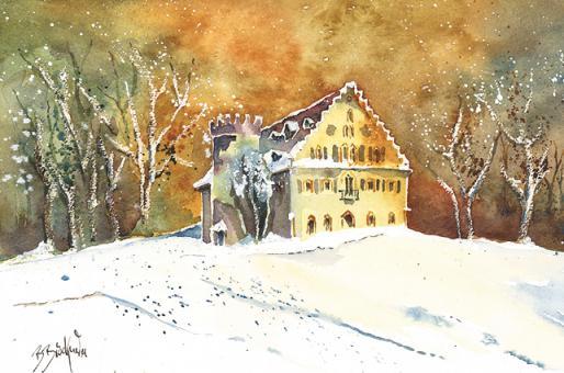 Kunstkarte Coburg - Winterliches Schloss Rosenau