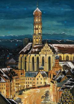 Wand-Adventskalender Augsburg - St. Ulrich mit Alpenpanorama mit Glitzer mit Glitzer
