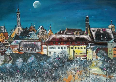 Wand-Adventskalender Rothenburg ob der Tauber - Weihnachtliche Stimmung über der Altstadt