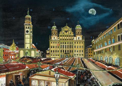 Wand-Adventskalender Augsburg - Weihnachtsmarkt auf dem Rathausplatz mit Glitzer mit Glitzer