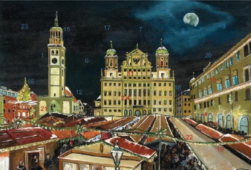 Adventskalender Augsburg - Weihnachtsmarkt auf dem Rathausplatz mit Glitzer mit Glitzer