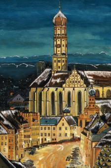 Kunstkarte Augsburg - St. Ulrich mit Alpenpanorama