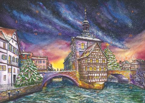 Wand-Adventskalender Bamberg - Adventszeit am Alten Rathaus ohne Glitzer