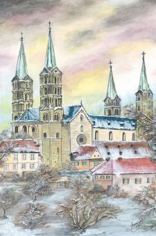 Kunstkarte Bamberg - Bamberger Dom im Winter (Seitenansicht) mit Glitzer mit Glitzer