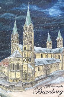 Kunstkarte Bamberg - Weltkulturerbe, Dom mit Glitzer mit Glitzer