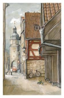 Kunstkarte Coburg - Kuhgasse mit Ketschentor