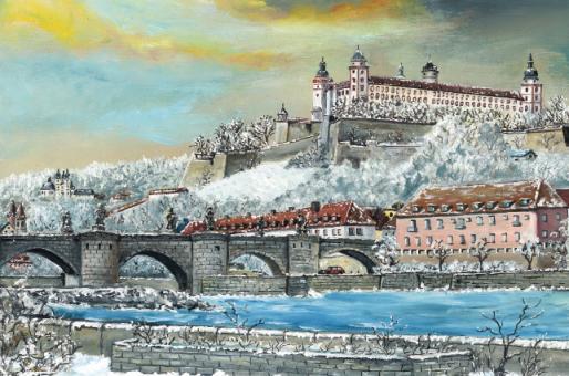 Kunstkarte Würzburg - Alte Mainbrücke mit Festung Marienberg