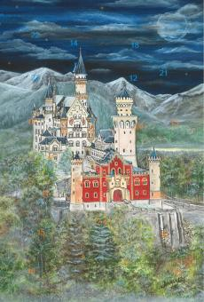 Adventskalender - Schloss Neuschwanstein mit Glitzer mit Glitzer