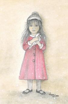 Kunstkarte - Das Mädchen mit der Friedenstaube