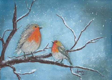 Kunstpostkarte - Rotkehlchen im Winter