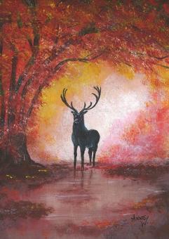 Kunstpostkarte - Hirsch im Herbst