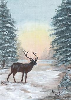 Kunstpostkarte - Hirsch im Abendlicht
