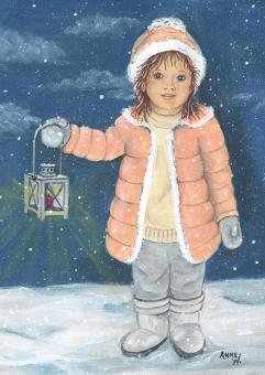 Kunstpostkarte - Laternenkind