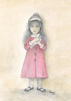Kunstpostkarte - Das Mädchen mit der Friedenstaube