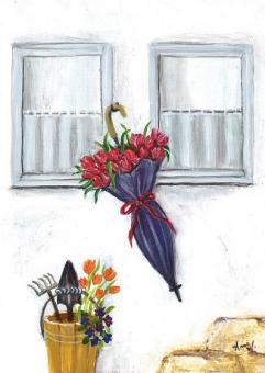 Kunstpostkarte - Der Tulpenschirm