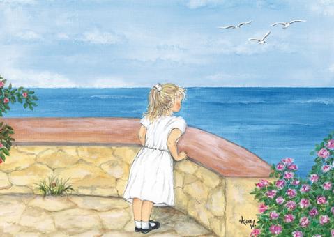 Kunstpostkarte - Sophie am Meer