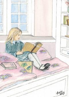 Kunstpostkarte - Lesendes Mädchen